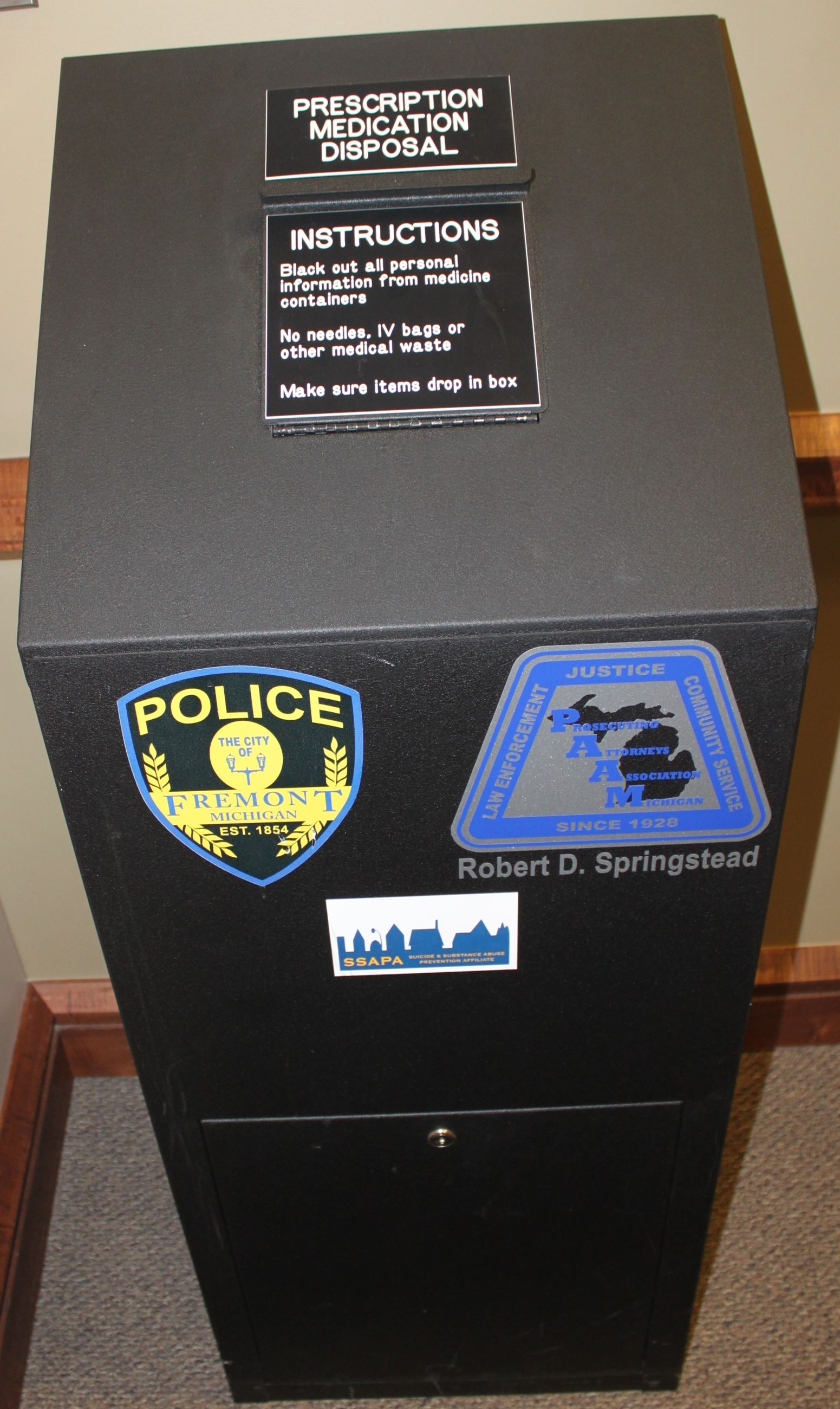 Medication Drop Box for disposal of unused/unwanted drugs